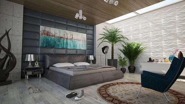 Betonowe ściany w salonie