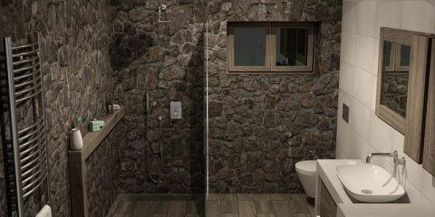 Łazienka ściany z kamienia