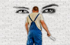 Graffiti ściana oczy