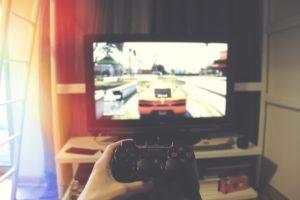 pokój gracza konsola tv