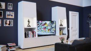 duży telewizor na ścianie aranżacja salonu