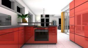 czerwona duża kuchnia otwarta