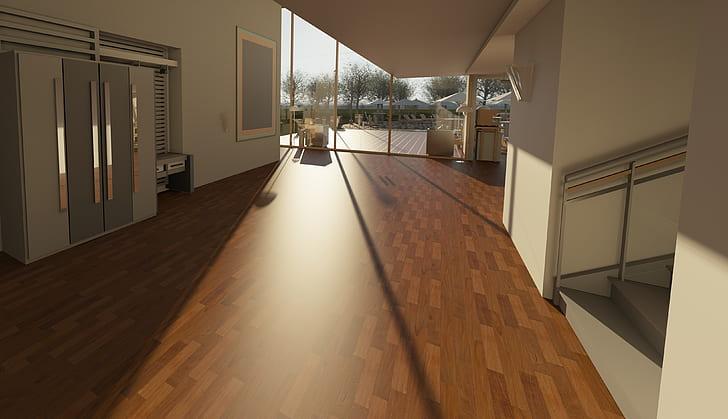 nowoczesne mieszkanie duże okna drewniana podłoga